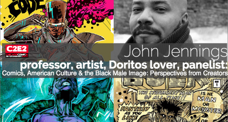 Photo of John Jennings Artwork and Black Comics And Action Entertainment C2E2 panel Black Male Identity in Comics